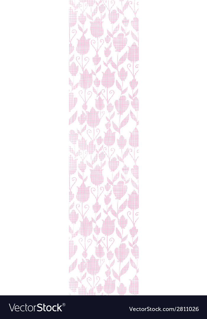 Pink textile tulips texture vertical seamless vector | Price: 1 Credit (USD $1)