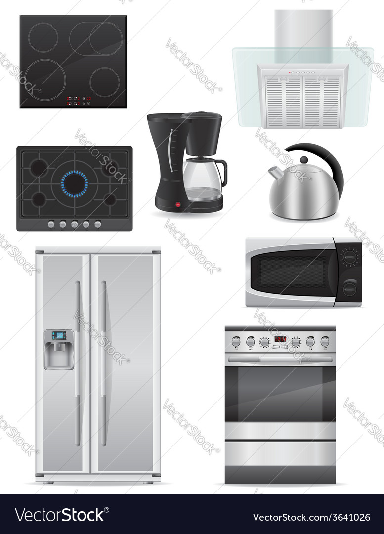 Set of kitchen appliances 01 vector | Price: 5 Credit (USD $5)