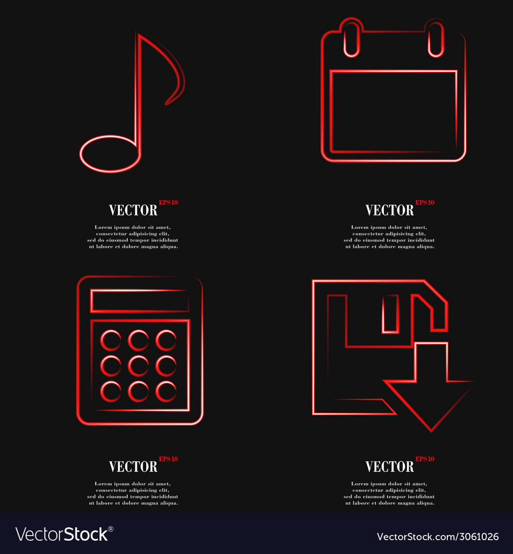 Set of red web icon flat design simple sticker vector | Price: 1 Credit (USD $1)