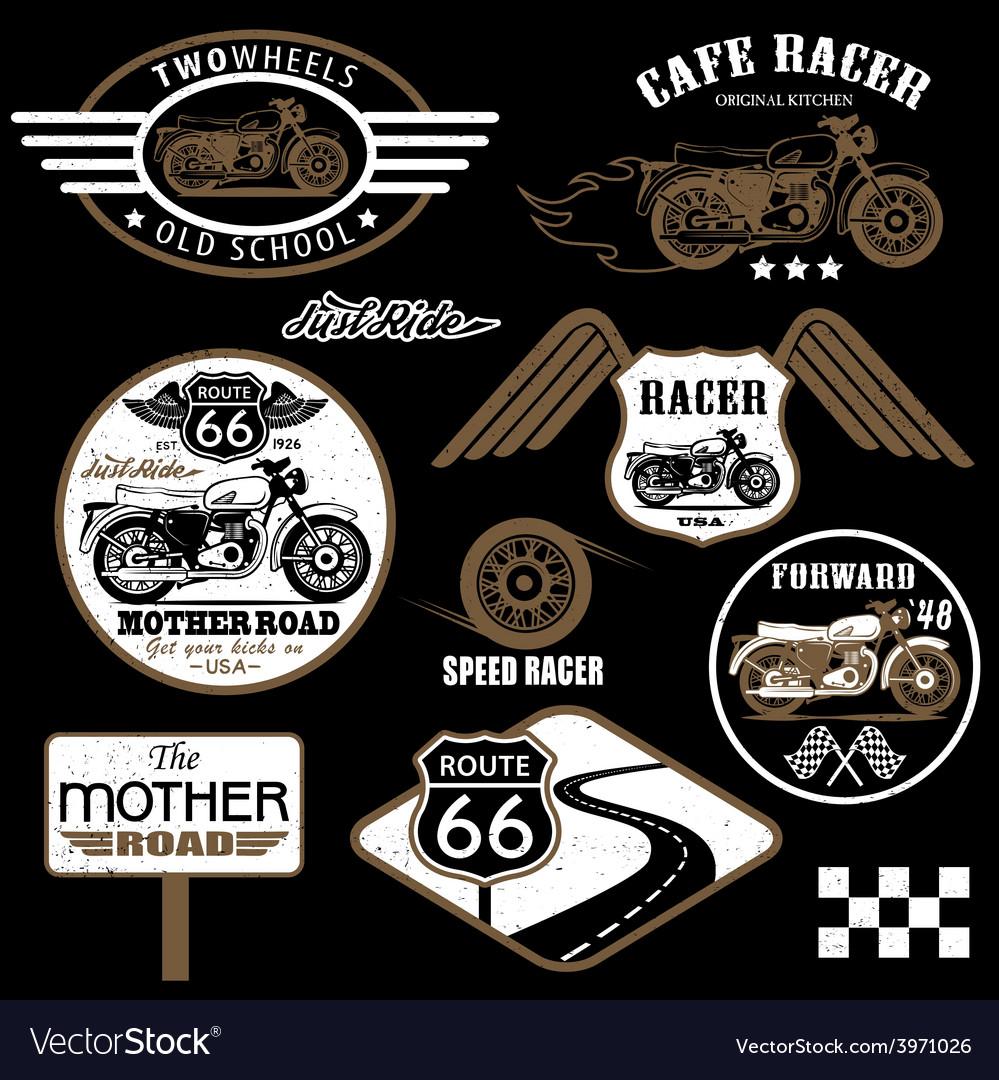 Set of vintage motorcycle badges vector   Price: 1 Credit (USD $1)