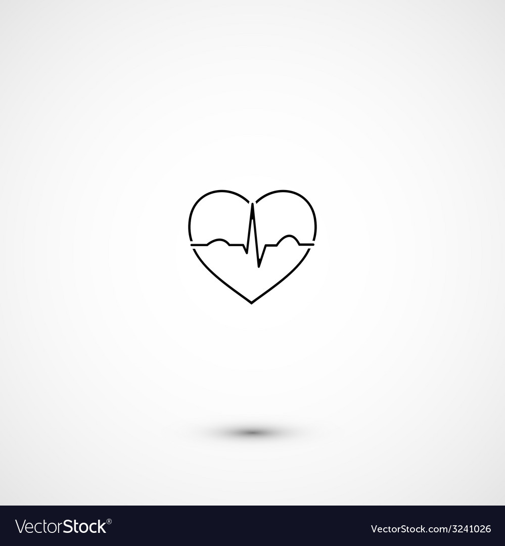 Simple minimalistic heart ecg vector | Price: 1 Credit (USD $1)
