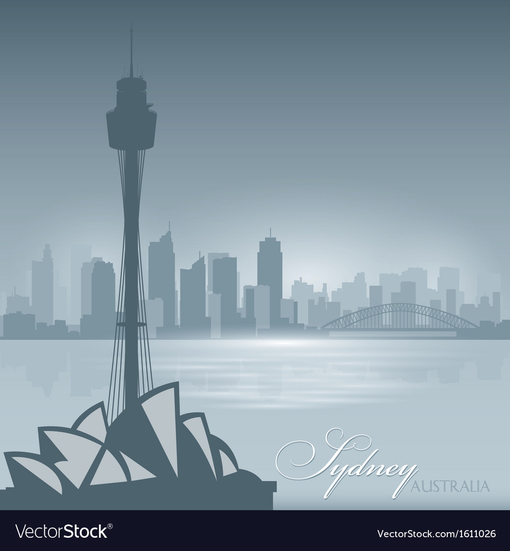 Sydney australia skyline city silhouette backgroun vector | Price: 1 Credit (USD $1)