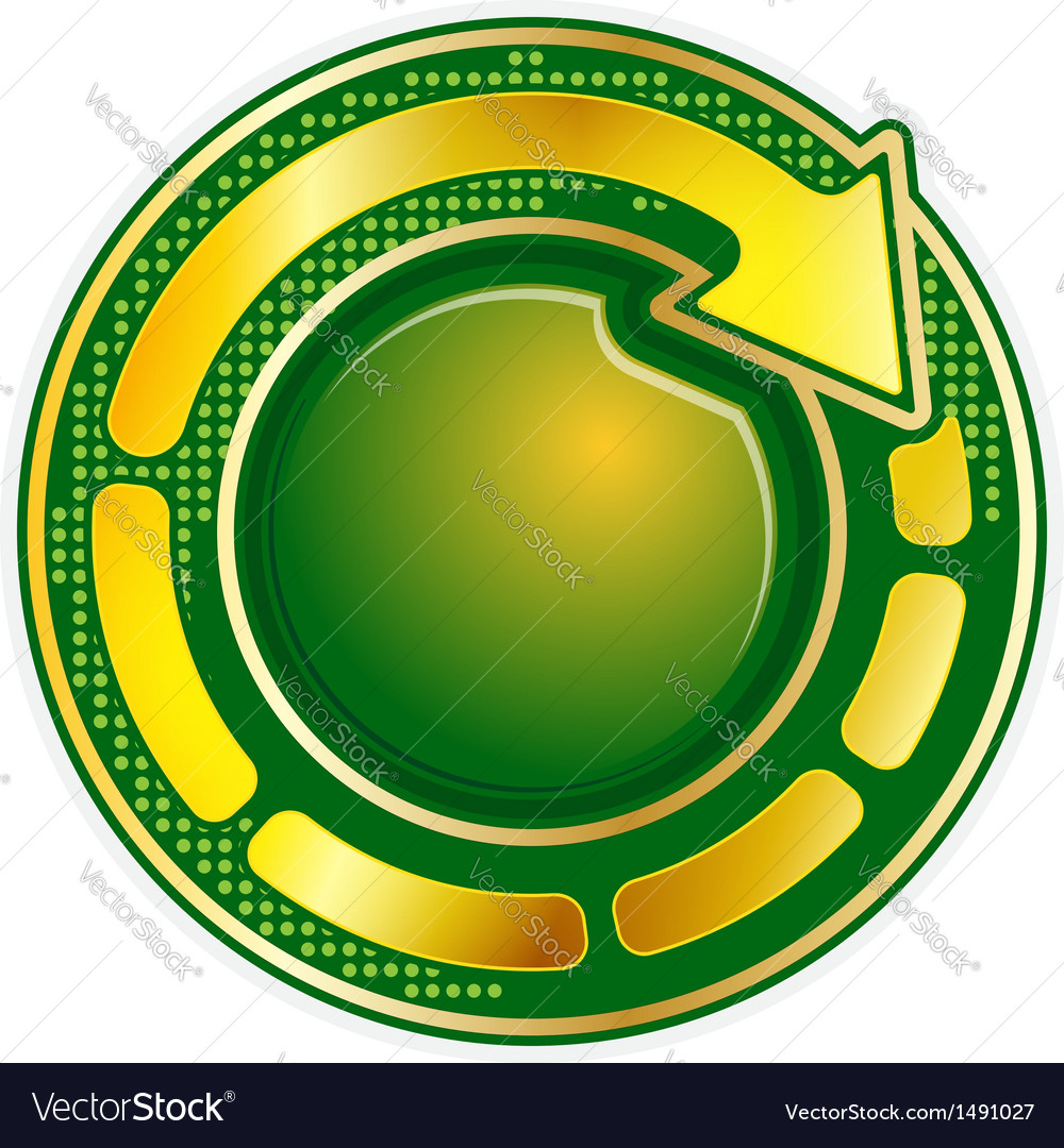 Abstract green round icon with gold arrow vector | Price: 1 Credit (USD $1)