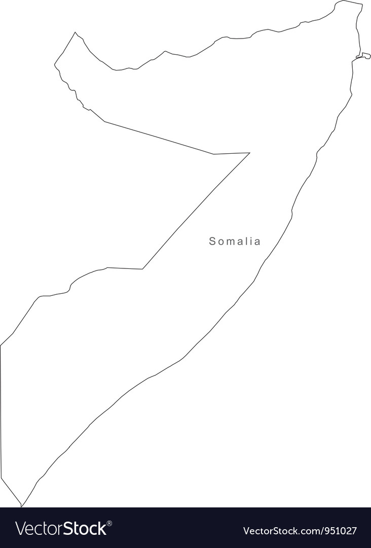 Black white somalia outline map vector | Price: 1 Credit (USD $1)