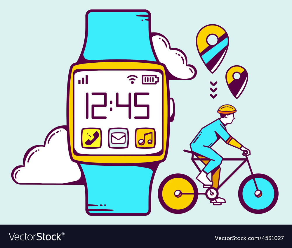 Blue smart watch with cyclist and cloud vector | Price: 1 Credit (USD $1)