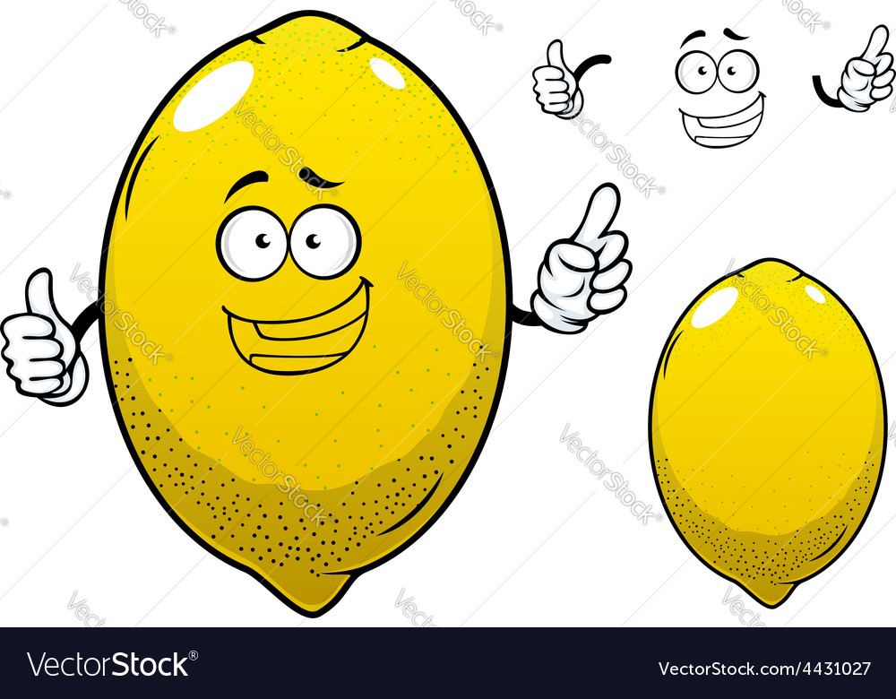 Cartoon yellow lemon citrus fruit vector | Price: 1 Credit (USD $1)