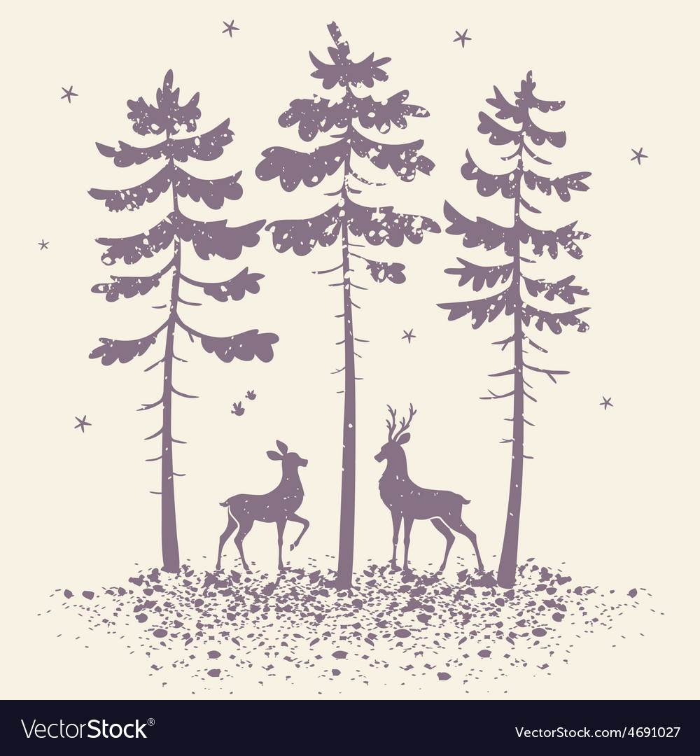 Deer and forest vector | Price: 1 Credit (USD $1)