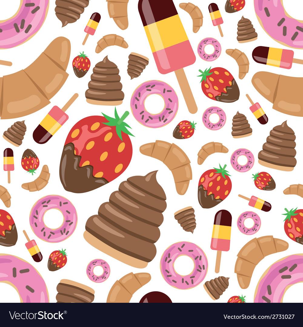 Desserts seamless pattern vector | Price: 1 Credit (USD $1)