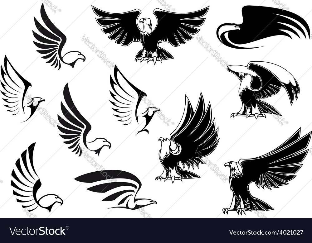 Eagles for logo tattoo or heraldic design vector | Price: 1 Credit (USD $1)