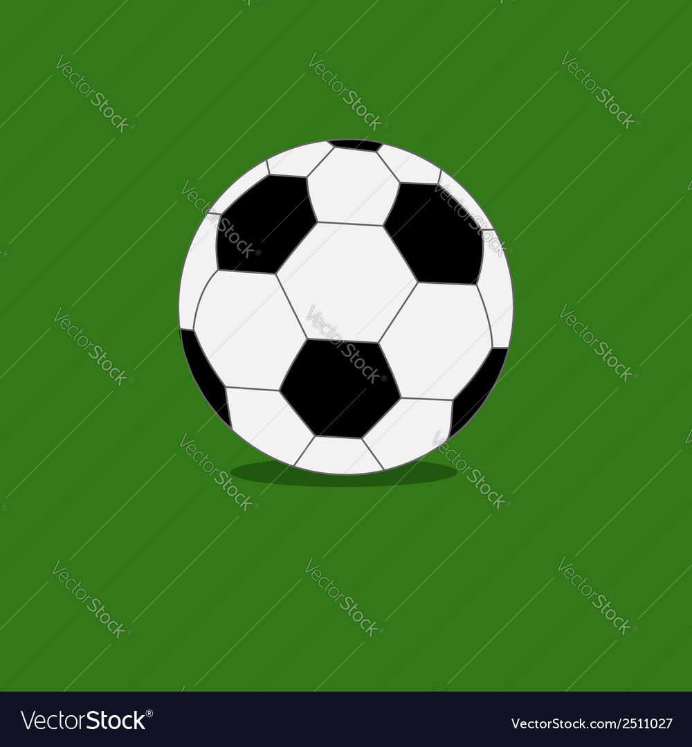 Football soccer ball icon with shadow green grass vector | Price: 1 Credit (USD $1)