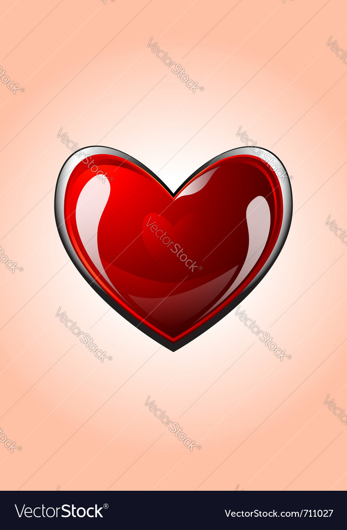 Glossy red heart icon vector | Price: 1 Credit (USD $1)
