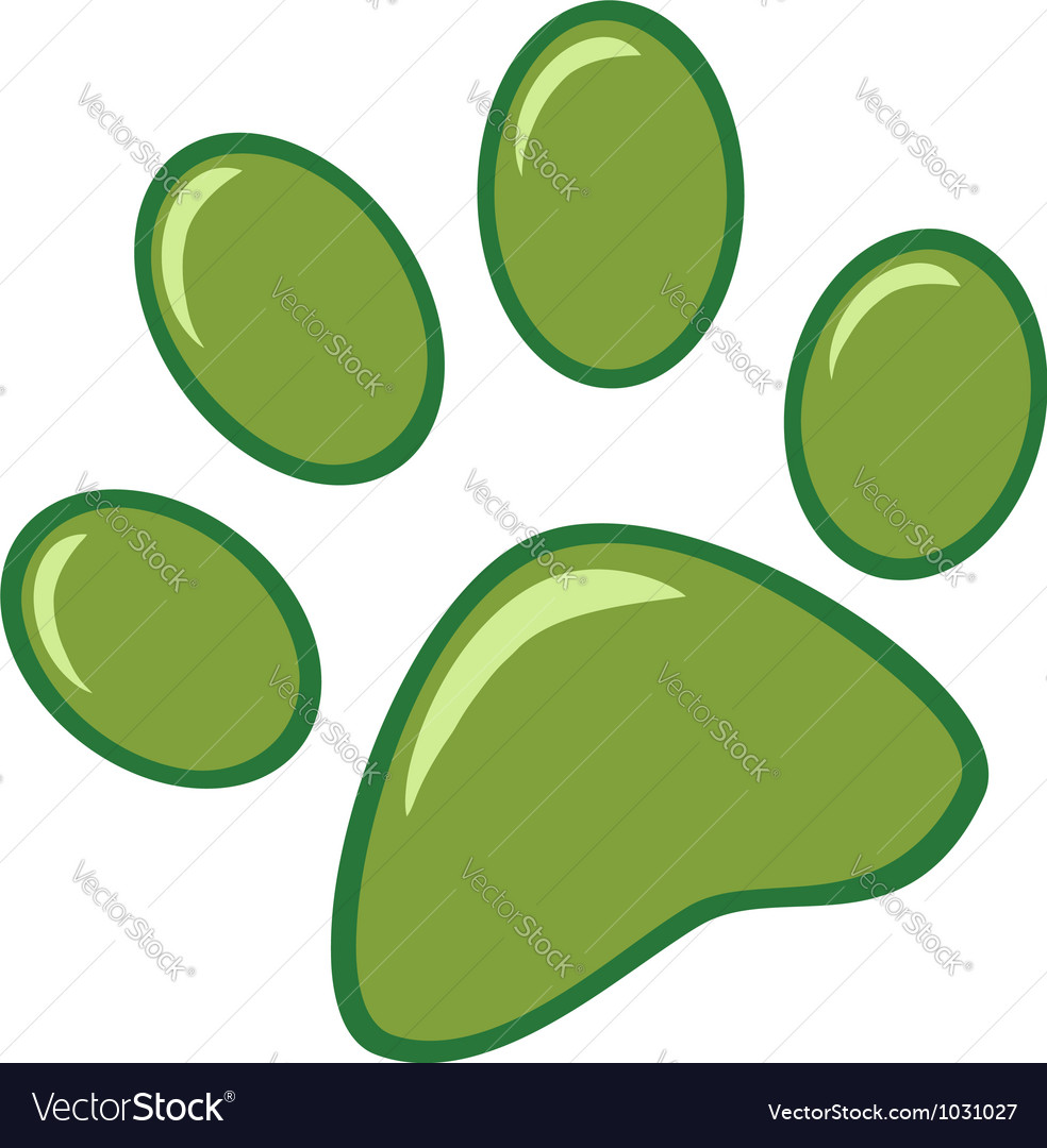 Green paw print vector | Price: 1 Credit (USD $1)
