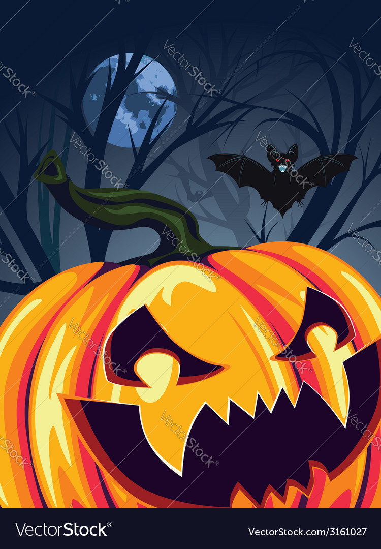 Halloween pumpkin in the forest2 vector | Price: 3 Credit (USD $3)