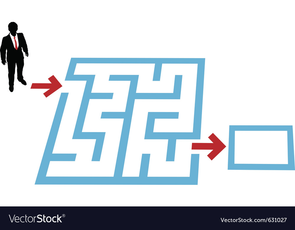 Help a business person find a way through a maze p vector | Price: 1 Credit (USD $1)