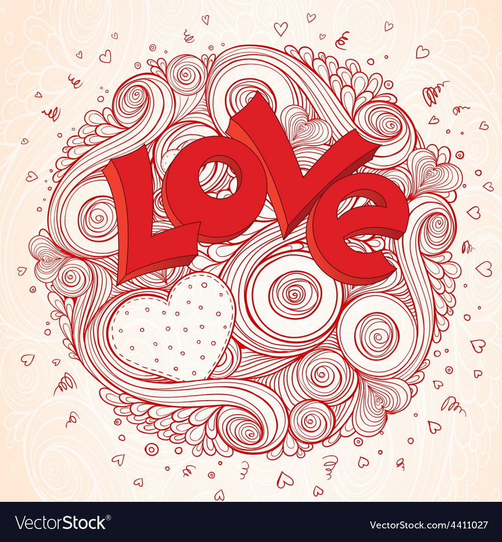 Light paper heart card with sign on ornate vector | Price: 1 Credit (USD $1)