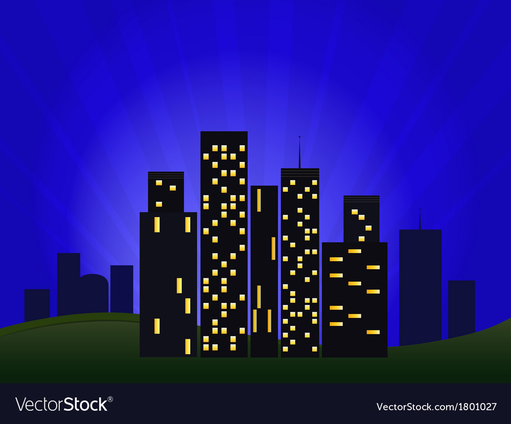 Of night cityscape vector | Price: 1 Credit (USD $1)