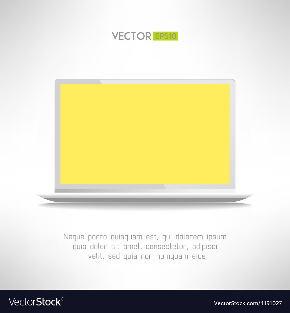 Realictic light laptop computer with yellow screen vector | Price: 1 Credit (USD $1)