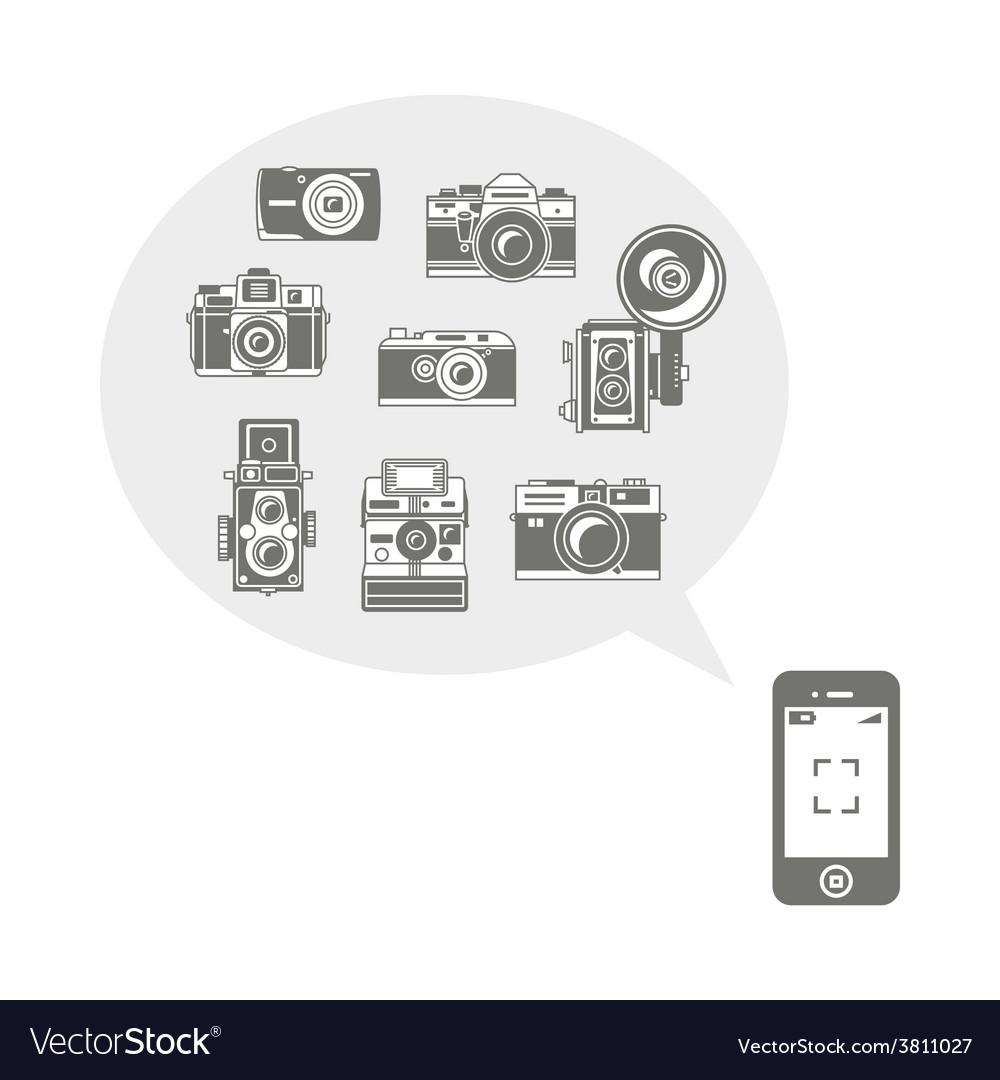 Retro photo cameras in phone vector | Price: 1 Credit (USD $1)