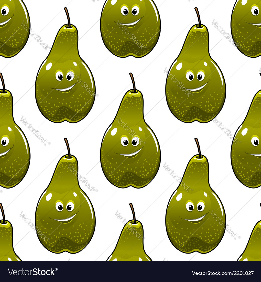 Seamless pattern of healthy fresh green pears vector | Price: 1 Credit (USD $1)