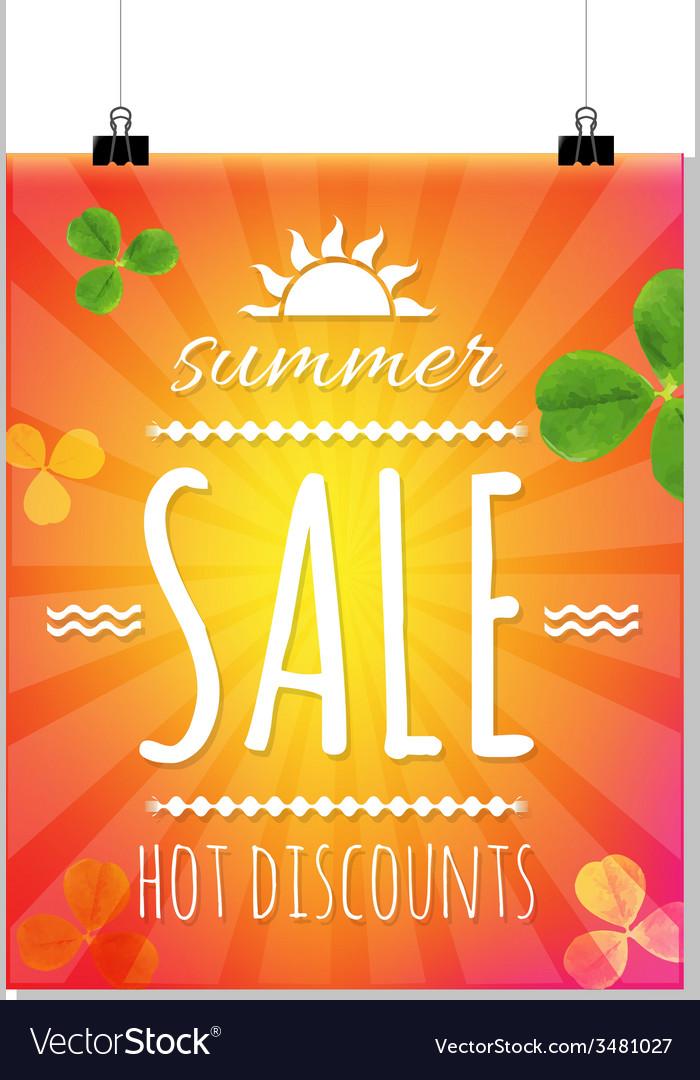 Summer sale banner with sunburst vector | Price: 1 Credit (USD $1)