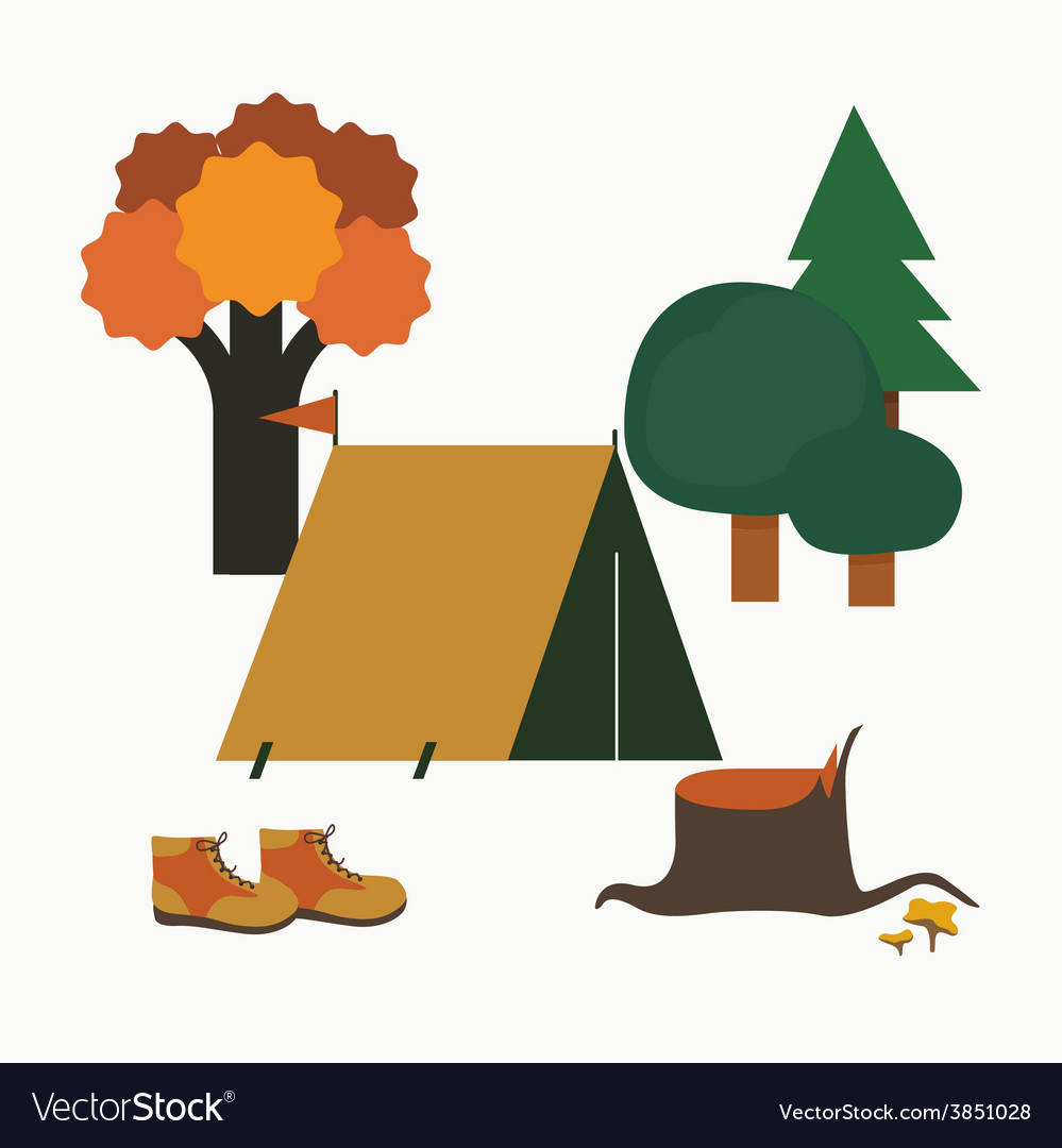 Camping in forest vector | Price: 1 Credit (USD $1)