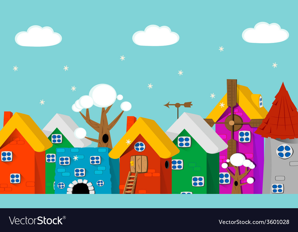 Cartoon city landscape vector | Price: 1 Credit (USD $1)