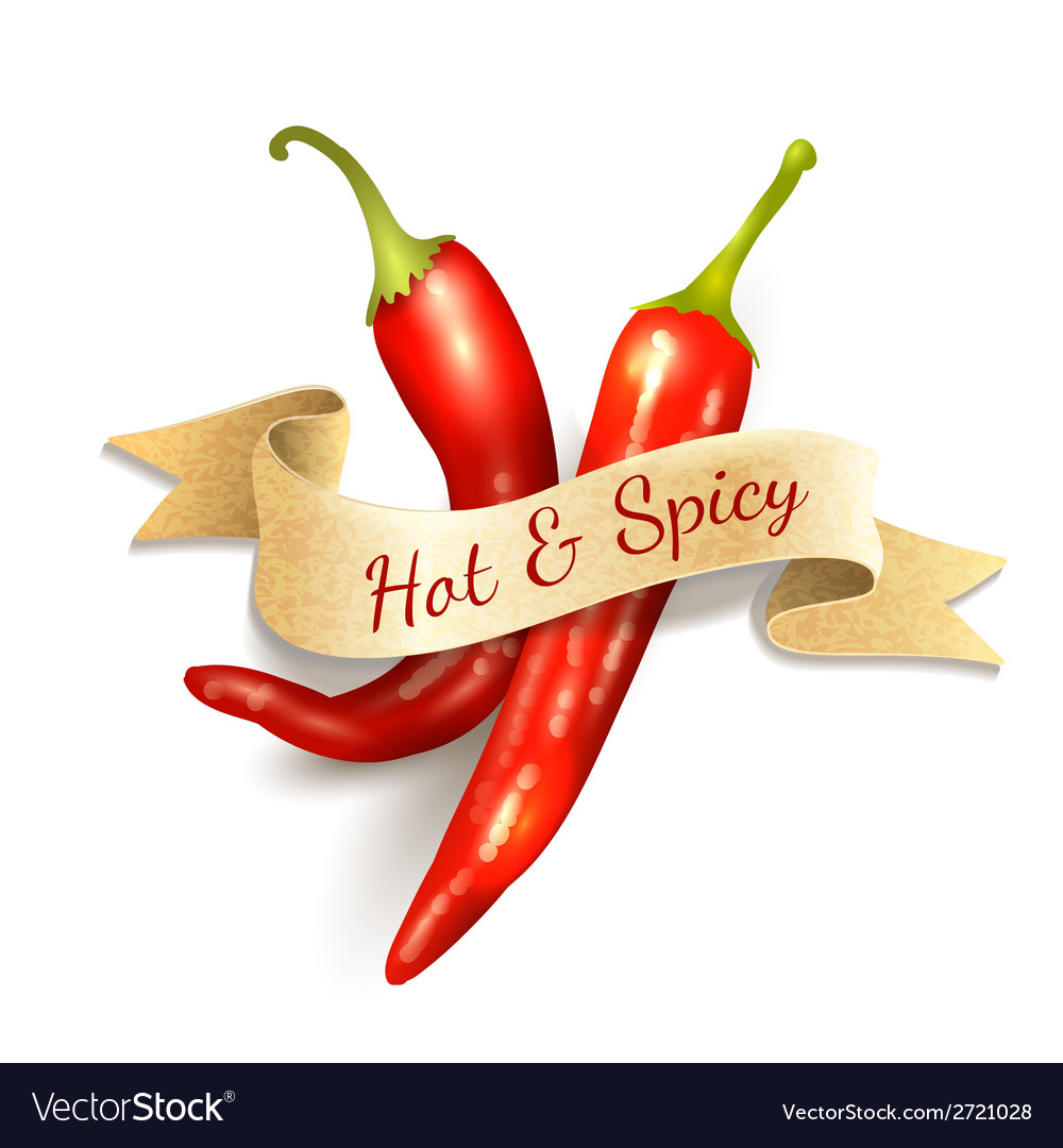 Chili pepper ribbon badge vector | Price: 1 Credit (USD $1)