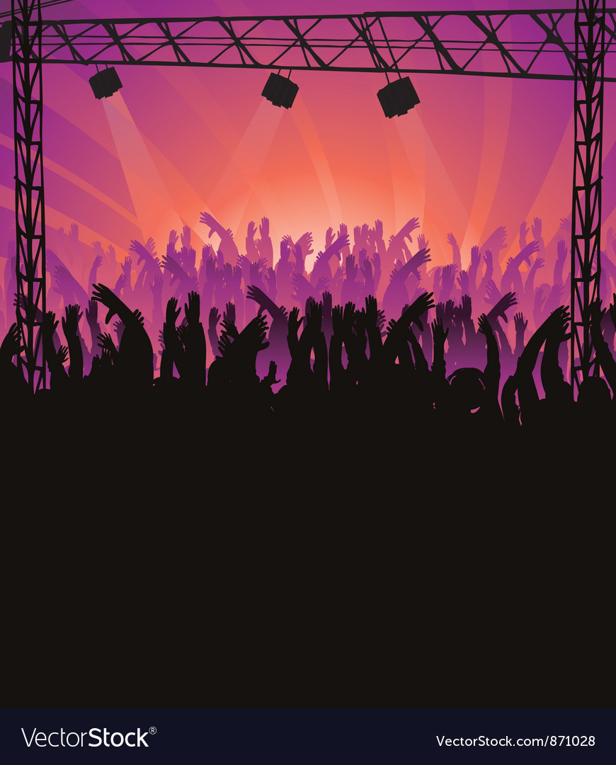 Concert poster with crowd vector | Price: 1 Credit (USD $1)