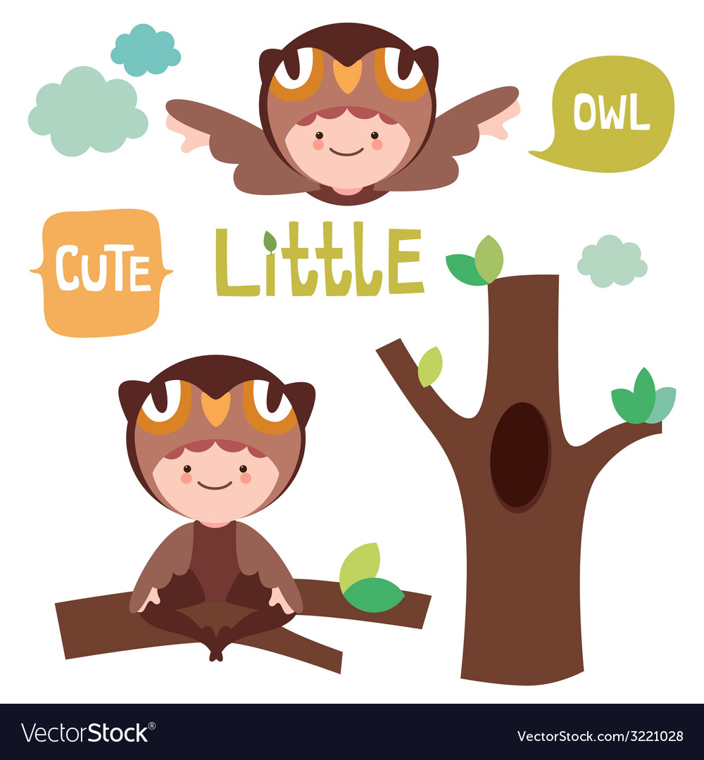 Cute little owl character vector | Price: 1 Credit (USD $1)