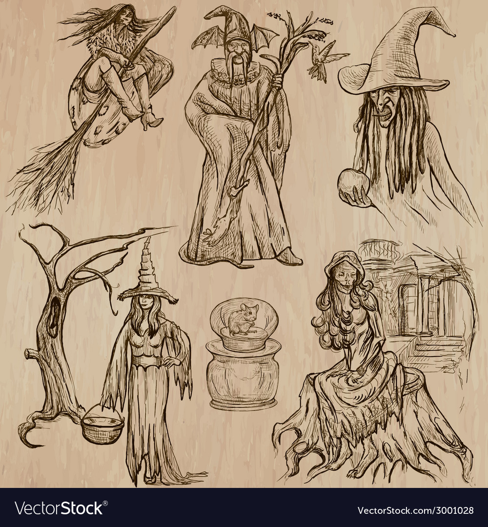 Halloween witches and wizards - hand drawn pack vector | Price: 1 Credit (USD $1)