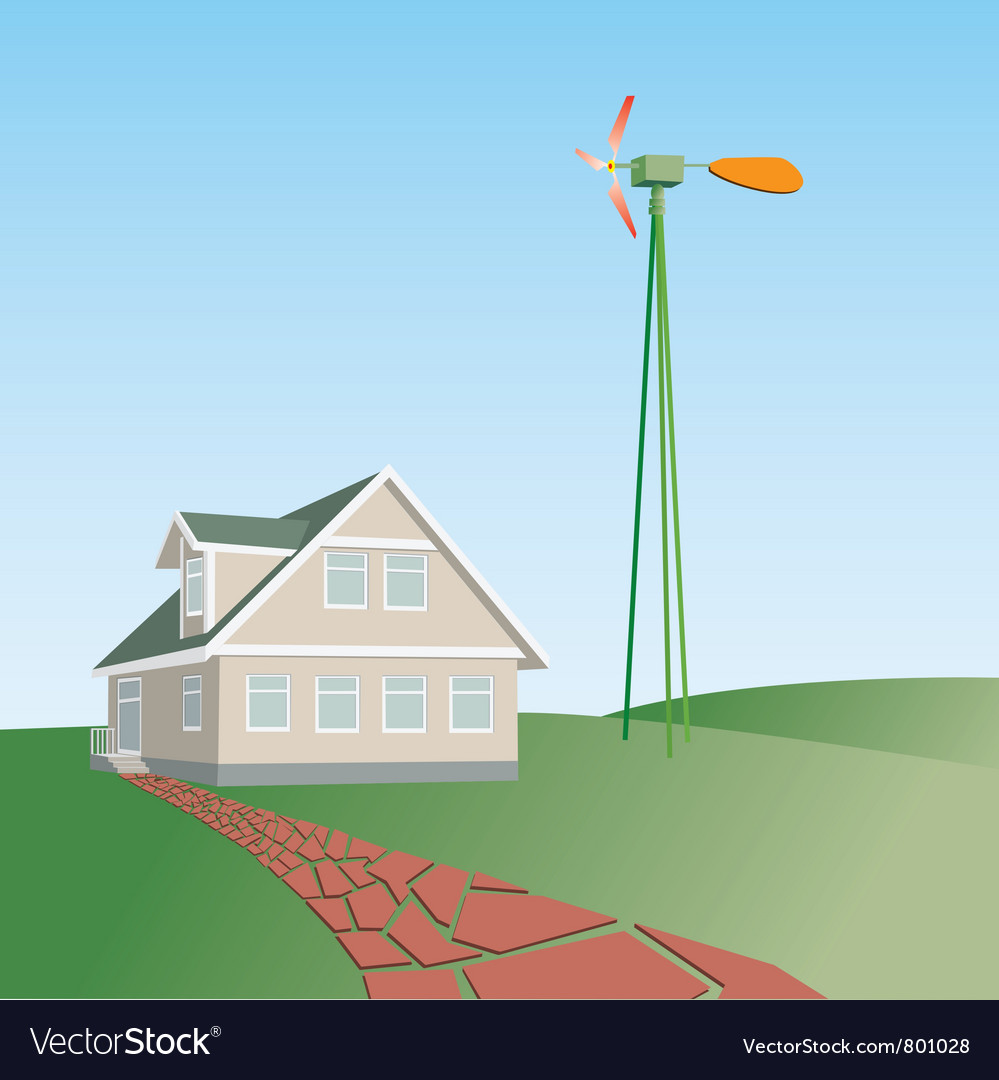 House on a green hill vector | Price: 1 Credit (USD $1)
