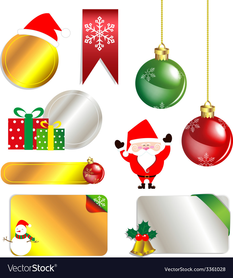 Merry christmas and new year promotion label vector | Price: 1 Credit (USD $1)