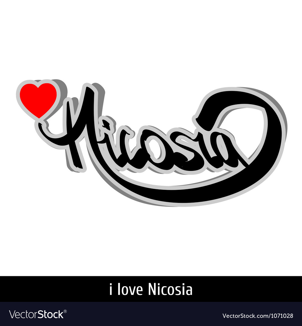 Nicosia greetings hand lettering calligraphy vector | Price: 1 Credit (USD $1)