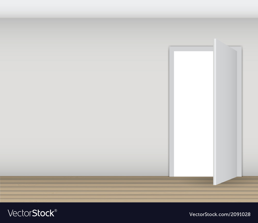 Open white door on a white wall vector | Price: 1 Credit (USD $1)