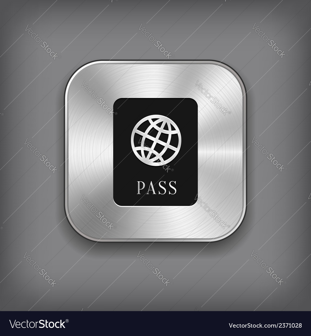 Passport icon - metal app button vector | Price: 1 Credit (USD $1)
