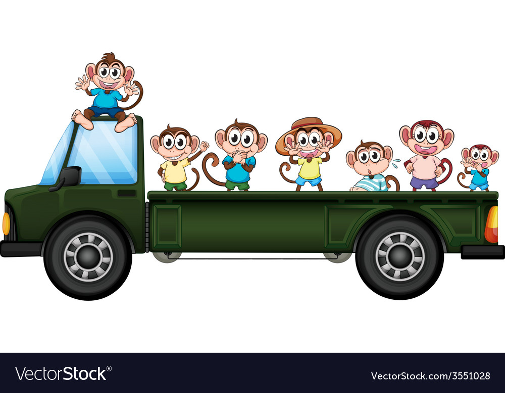 Truck and monkeys vector | Price: 1 Credit (USD $1)