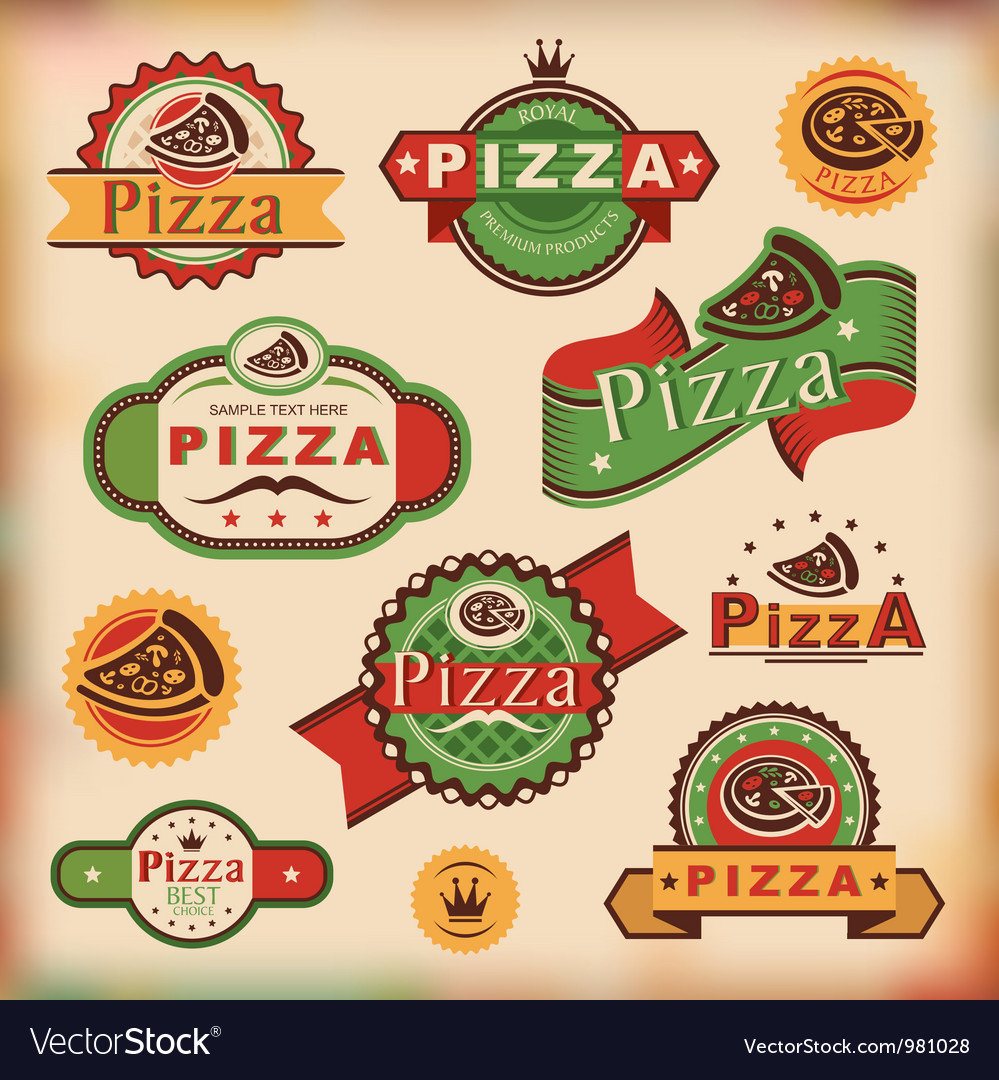 Vintage pizza labels vector | Price: 1 Credit (USD $1)