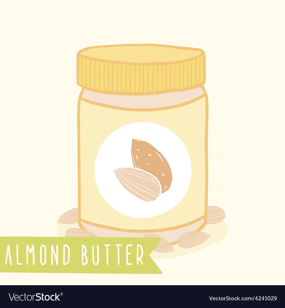 Almond butter in jar vector | Price: 1 Credit (USD $1)
