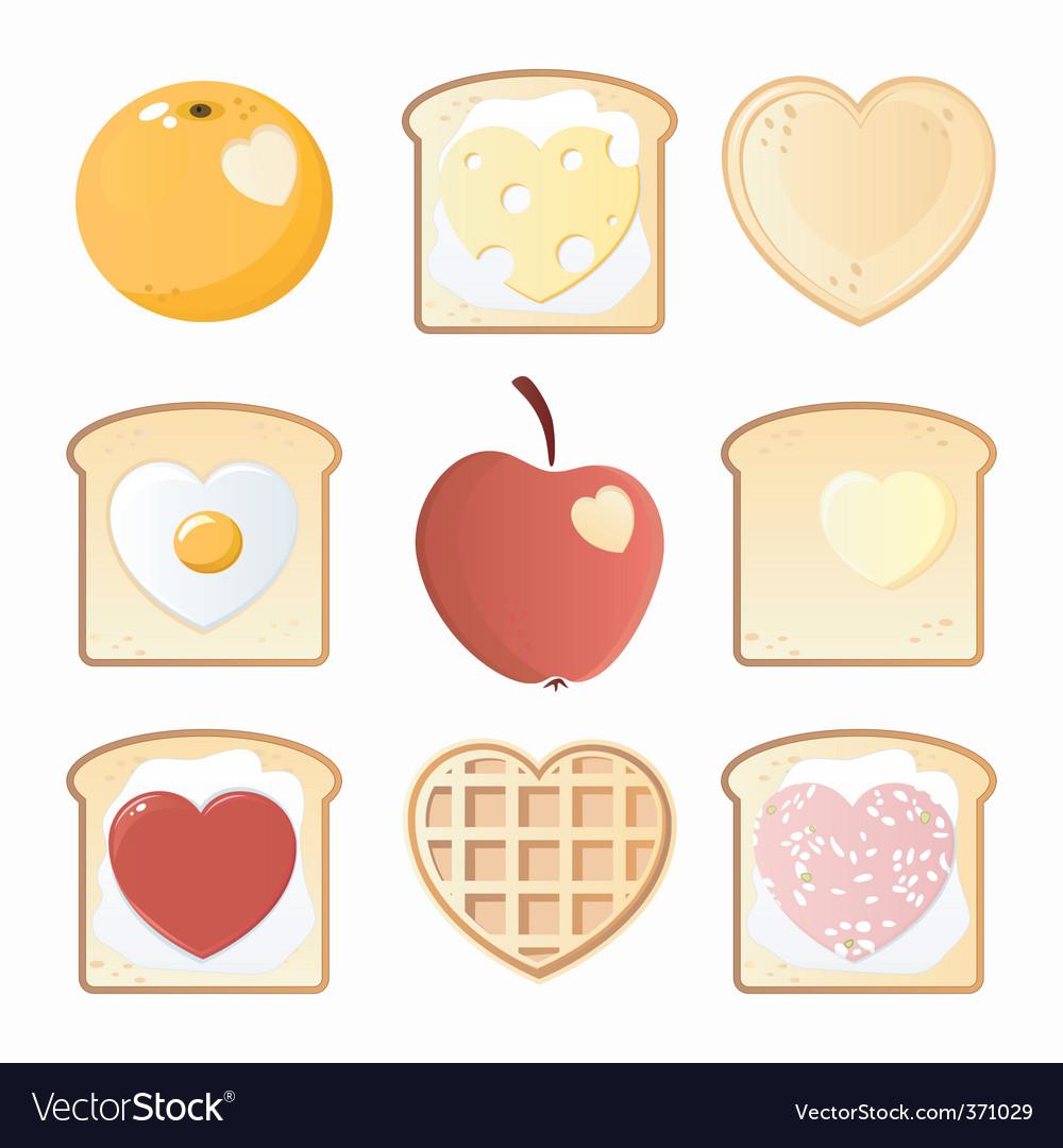 Breakfast love icons vector | Price: 3 Credit (USD $3)