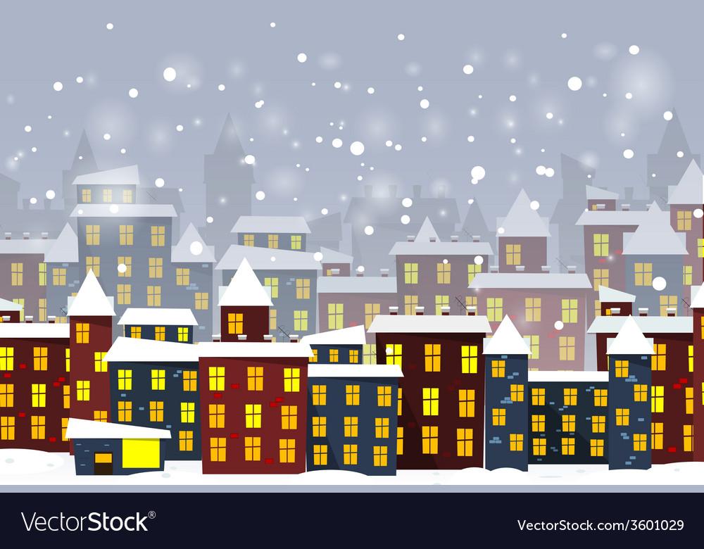 Cartoon winter city vector | Price: 1 Credit (USD $1)