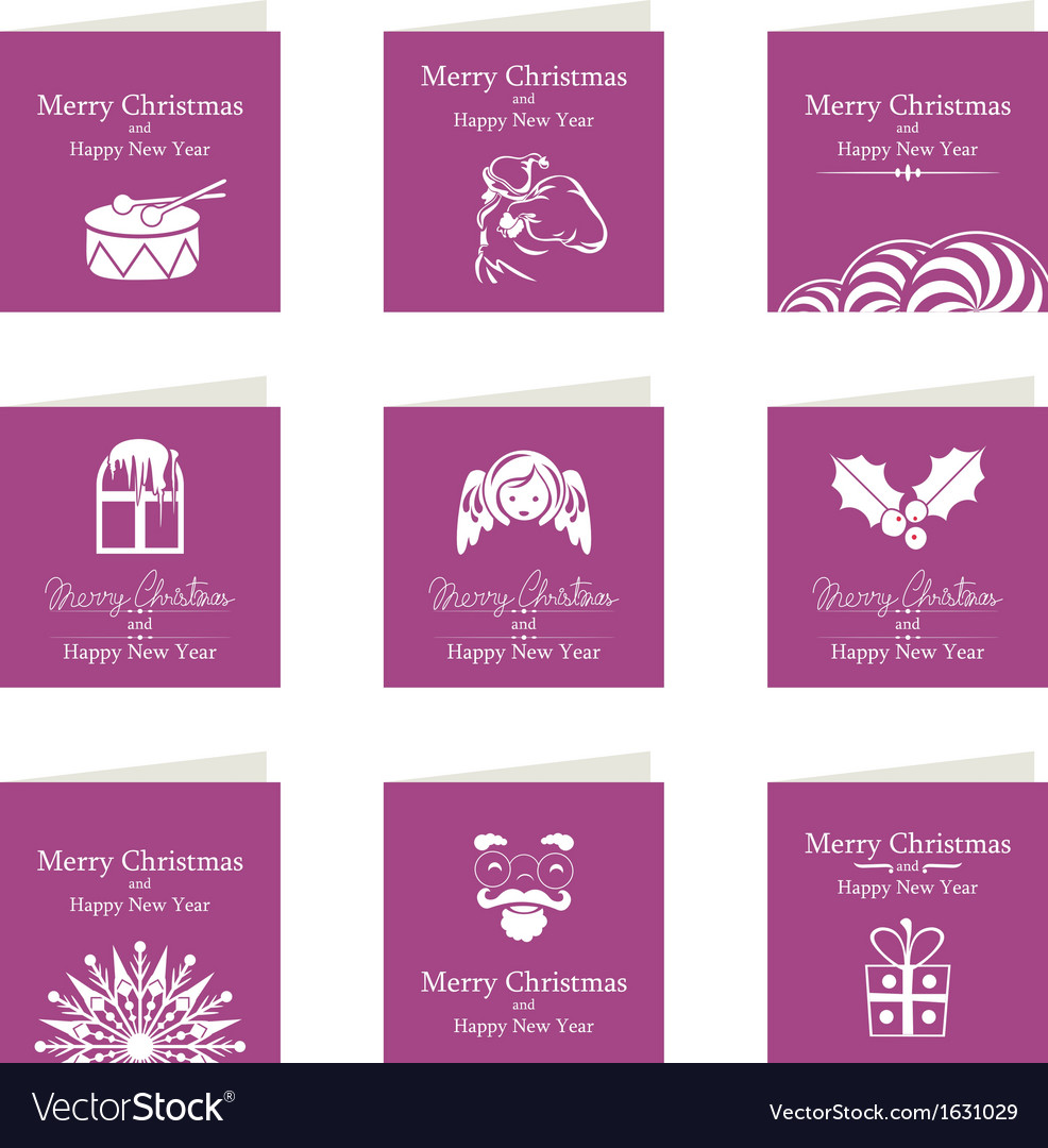 Christmas mini cards set vector | Price: 1 Credit (USD $1)