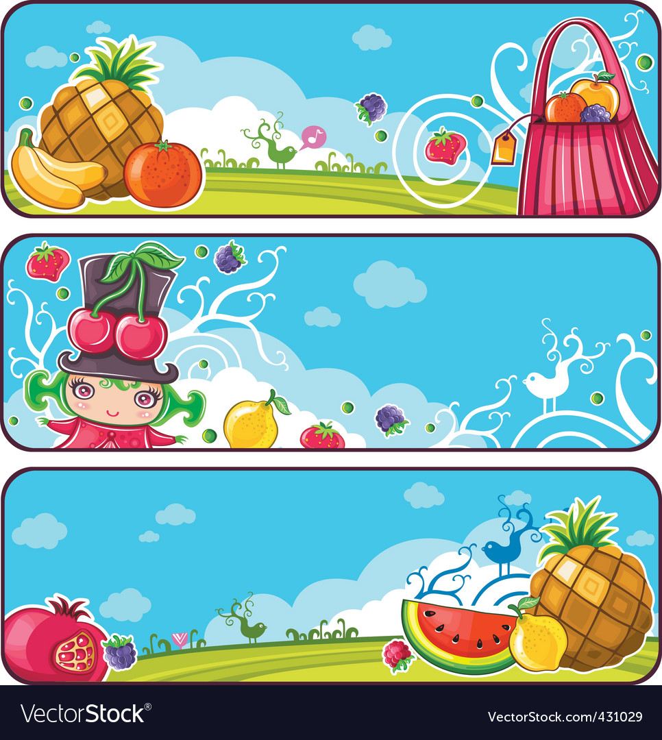 Colorful fruit banners vector | Price: 5 Credit (USD $5)