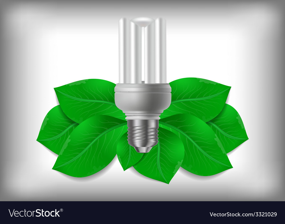 Energy saving bulb and green leaves vector | Price: 1 Credit (USD $1)