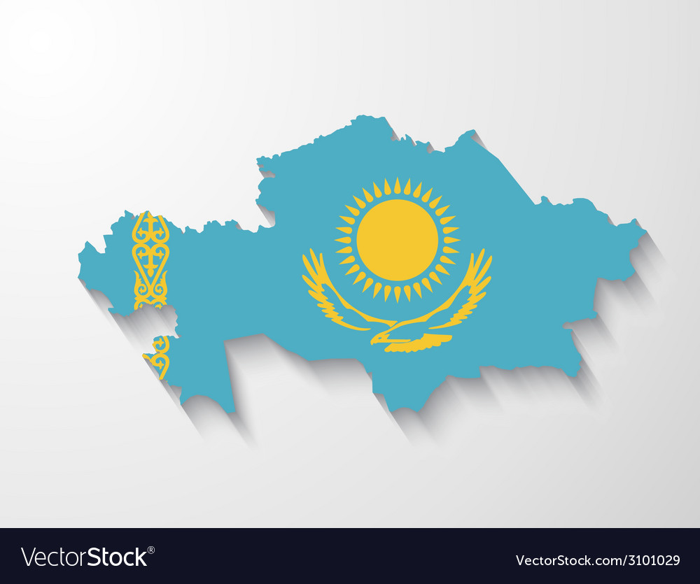 Kazakhstan country map with shadow effect vector | Price: 1 Credit (USD $1)