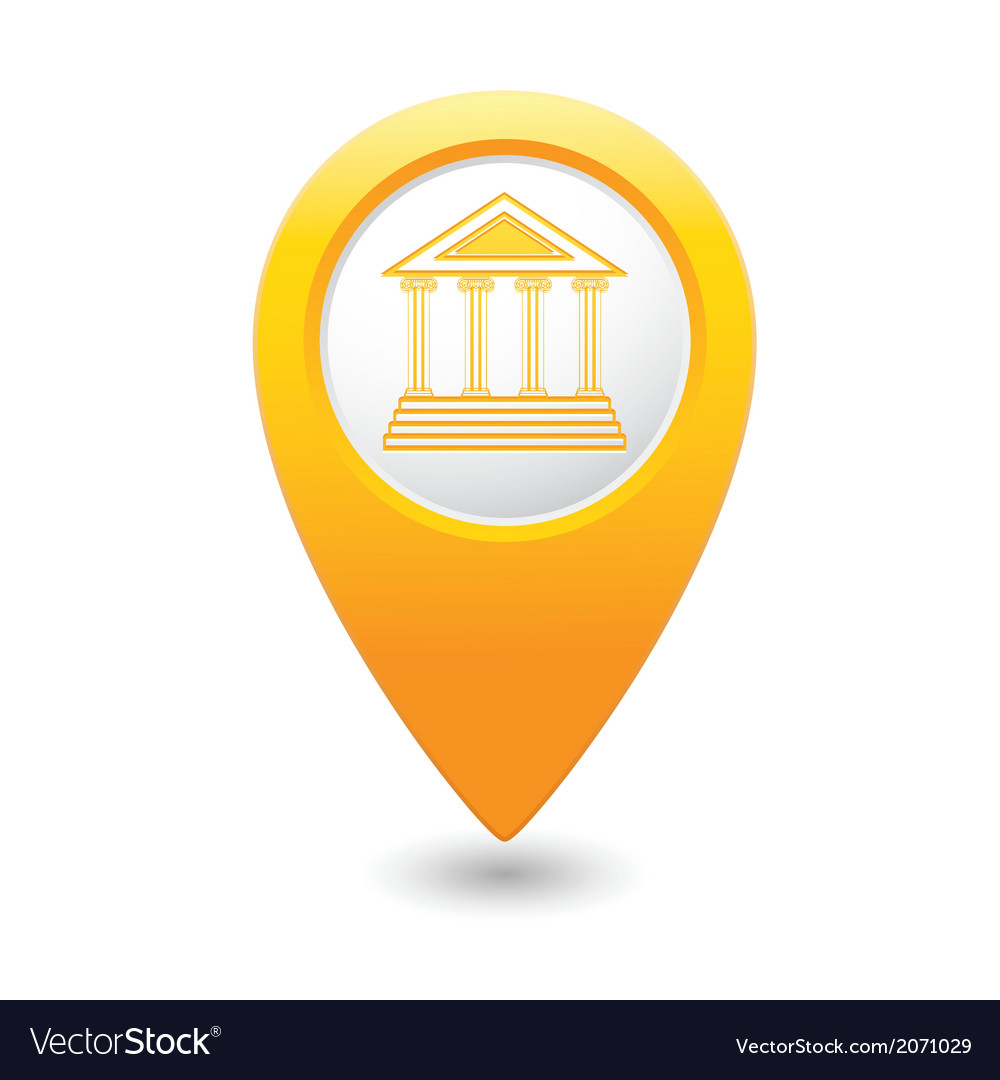 Museum icon yellow map pointer vector | Price: 1 Credit (USD $1)
