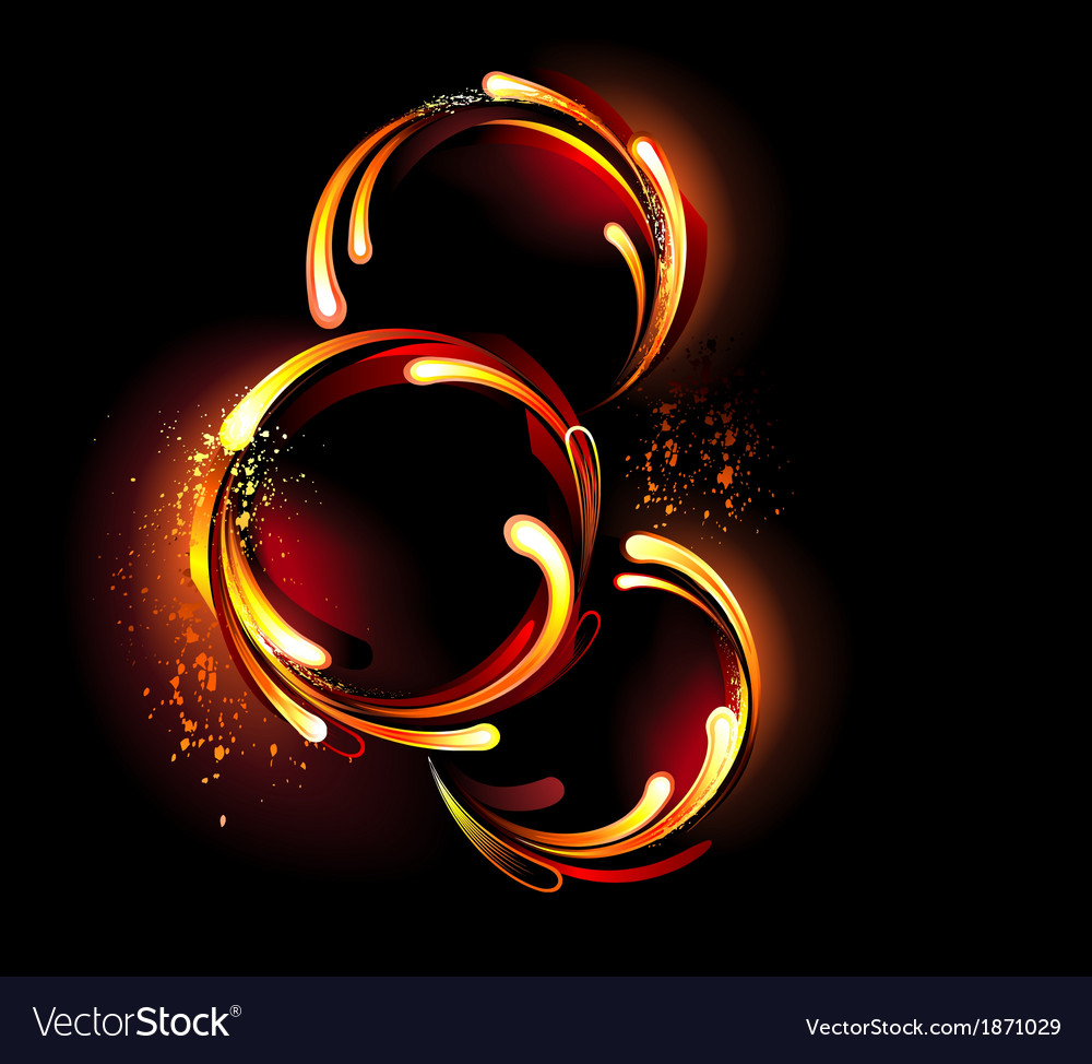 Three round fiery banner vector | Price: 1 Credit (USD $1)