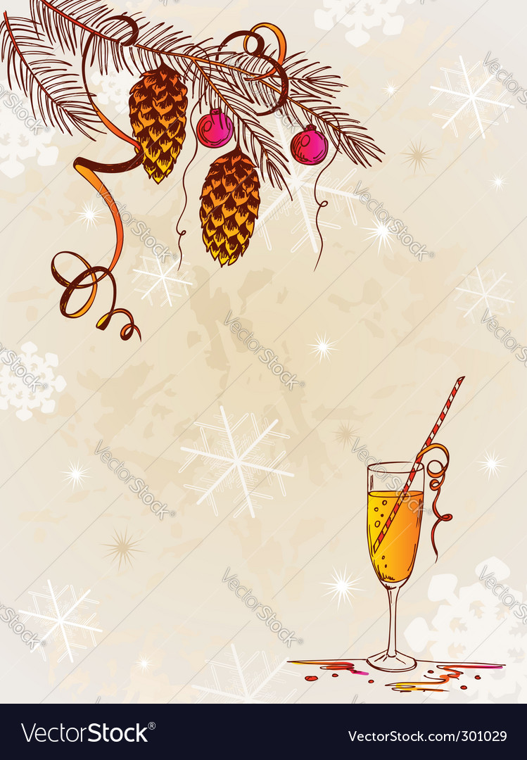 Vintage background with christmas tree vector | Price: 1 Credit (USD $1)
