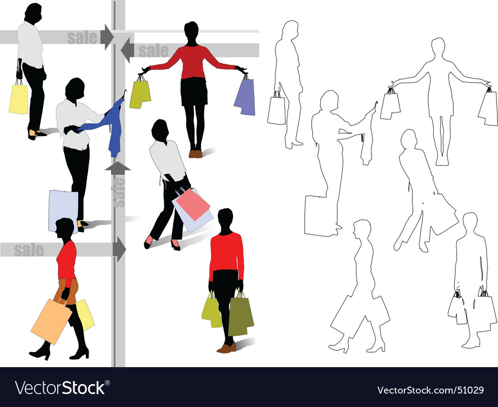 Women shopping silhouettes vector   Price: 1 Credit (USD $1)