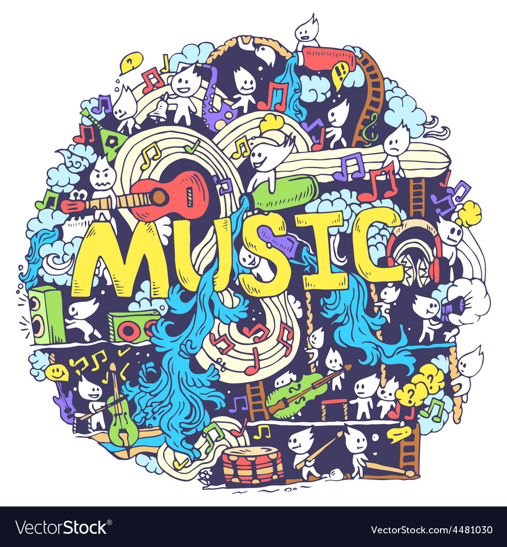 Abstract musical art with funny creatures hand vector | Price: 1 Credit (USD $1)