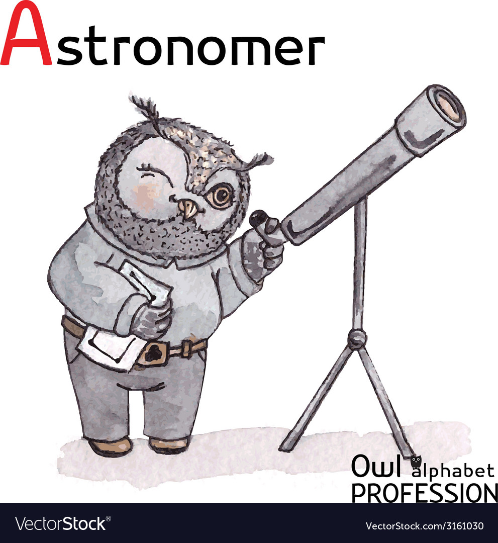 Alphabet professions owl letter a - astronomer vector | Price: 1 Credit (USD $1)